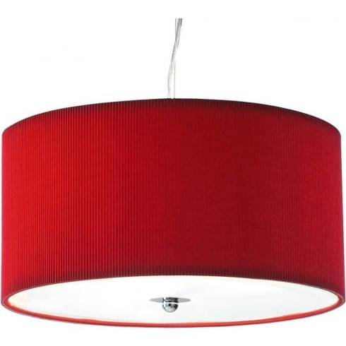 Dar Lighting Zaragoza ZAR1025 Red Fabric Shade 3 Light Pendant Small