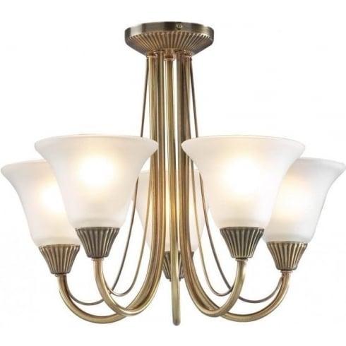 Dar Lighting Boston BOS05 Antique Brass 5 Light Ceiling Light