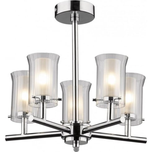 Dar Lighting Elba ELB0550 IP44 5 Light Semi Flush Polished Chrome Ceiling Fitting