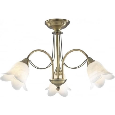 Dar Lighting Doublet DOU0375 Antique Brass 3 Light Semi Flush Ceiling Fitting