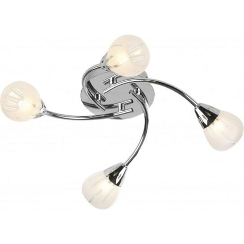 Dar Lighting Villa VIL0450 Polished Chrome 4 Light Flush Ceiling Fitting