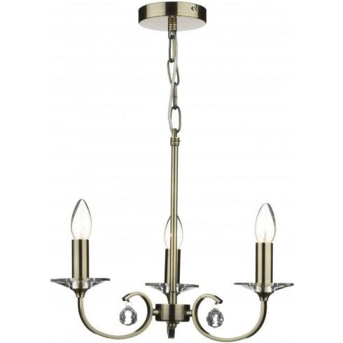 Dar Lighting Allegra ALL0375 Antique Brass 3 Light Pendant