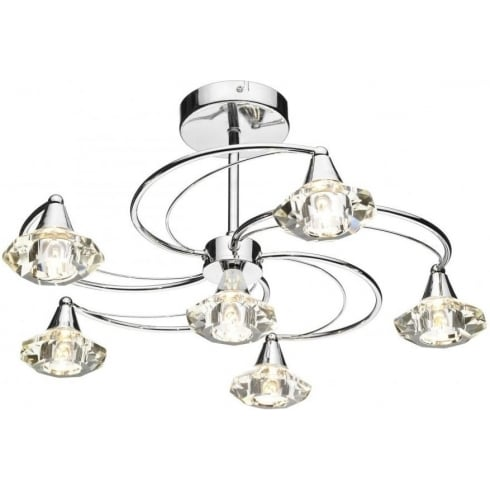 Dar Lighting Luther LUT0650 Polished Chrome Semi Flush 6 Light Ceiling Fitting