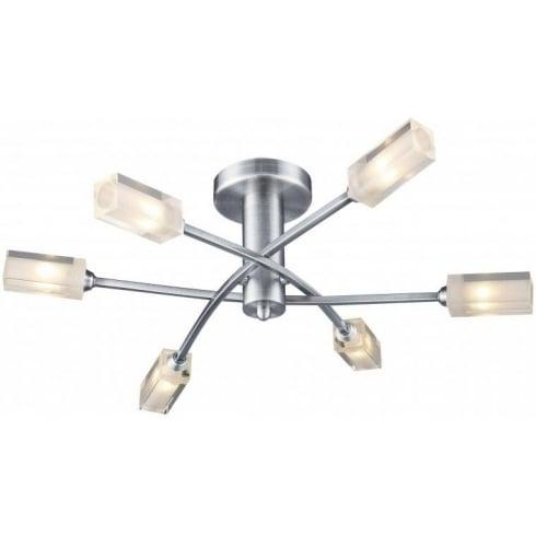 Dar Lighting Morgan MOR6446 Satin Chrome Semi Flush 6 Light Ceiling Fitting