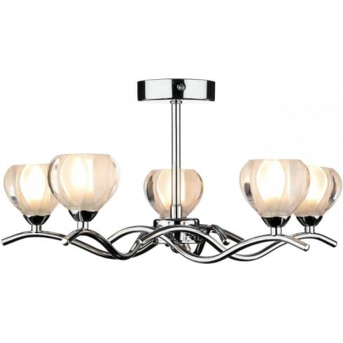 Dar Lighting Cynthia CYN0550 Polished Chrome 5 Light Semi Flush Ceiling Fitting