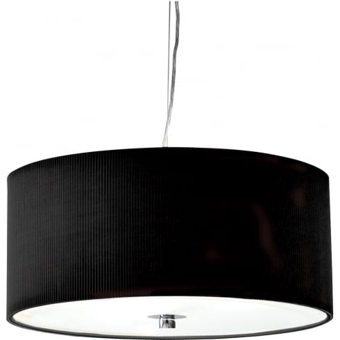 Dar Lighting Zaragoza ZAR1722 Black Fabric Shade 3 Light Pendant