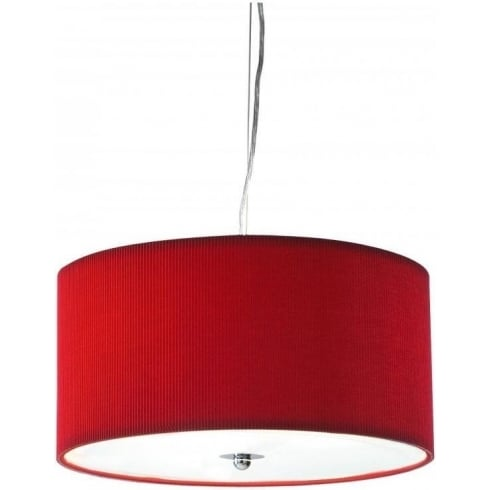 Dar Lighting Zaragoza ZAR1725 Red Fabric Shade 3 Light Pendant