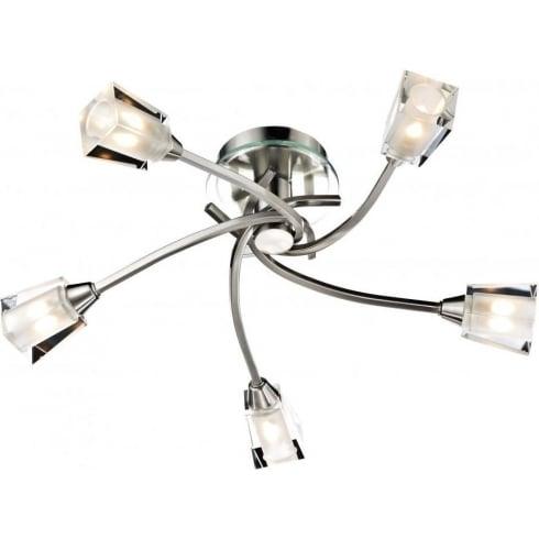 Dar Lighting Austin AUS0546 5 Light Satin Chrome Semi Flush Ceiling Light