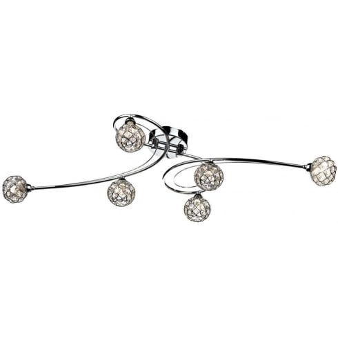 Circa CIR6450 Polished Chrome 6 Light Flush Ceiling Fitting