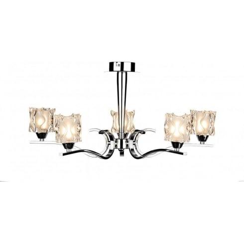 Dar Lighting Zola ZOL0550 Chrome & Sculptured Glass 5 Light Pendant