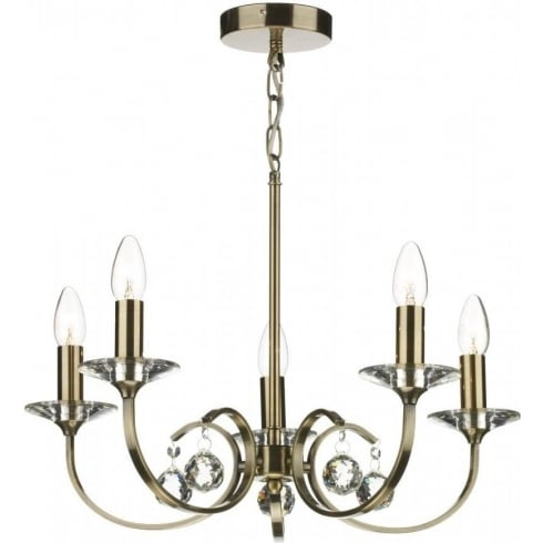 Dar Lighting Allegra ALL0575 Antique Brass 5 Light Pendant