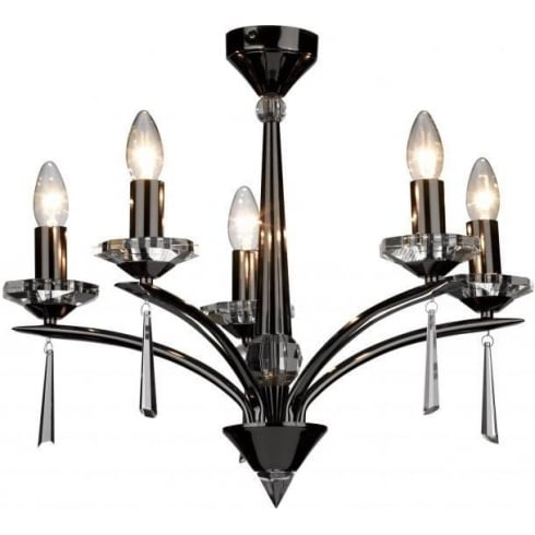 Dar Lighting Hyperion HY0567 Black Chrome/Crystal Sconce 5 Light Dual Mount Pendant