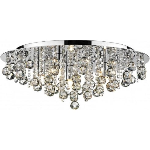 Dar Lighting Pluto PLU5450 Polished Chrome Flush 5 Light Ceiling Fitting
