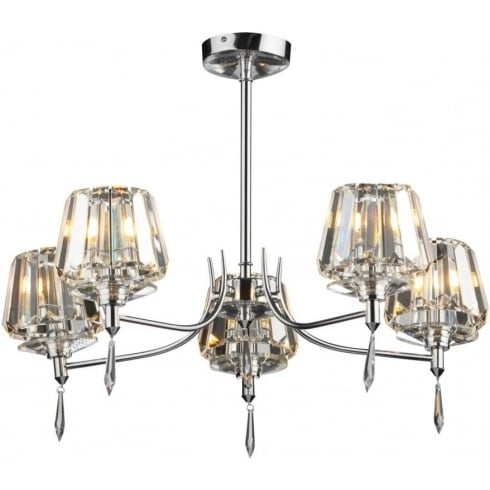 Dar Lighting Selina SEL0550 Polished Chrome 5 Light Semi Flush Ceiling Fitting