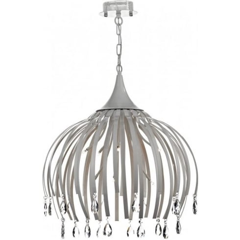 Dar Lighting Hoxton HOX082 Matt White 8 Light Pendant