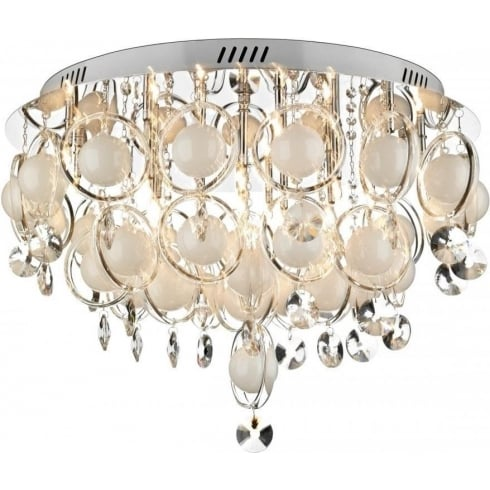 Dar Lighting Cloud CLO2850 Polished Chrome 18 Light Baubles Flush Ceiling Fitting