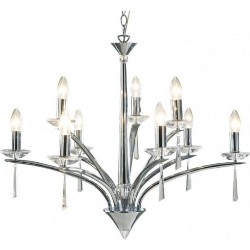 Dar Lighting Hyperion HYP1350 Polished Chrome/Crystal Sconce 9 Light Dual Mount Pendant