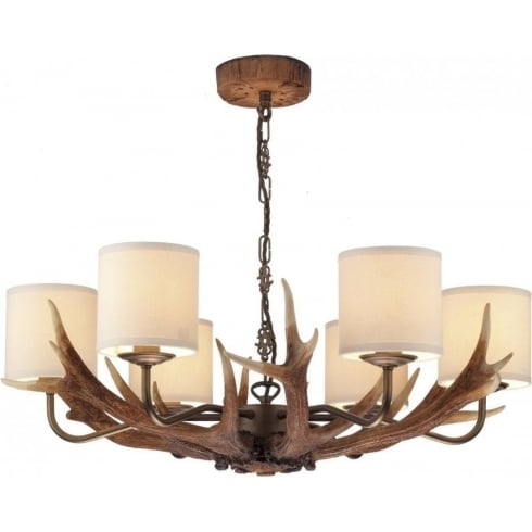 Dar Lighting Antler ANT0629 Hand Crafted Rustic Coloured 6 Light Ceiling Pendant & Cream Shades