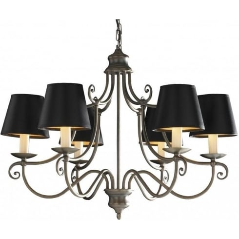 Dar Lighting Hidcote HID0645 Brass 6 Light Pendant
