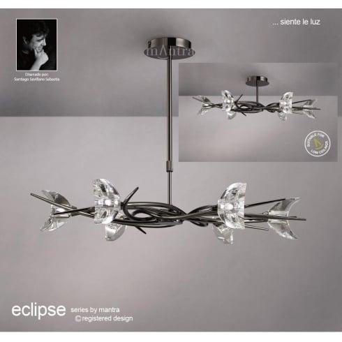 Mantra Spain Eclipse M1451BC Black Chrome Semi Flush Convertible Six Light Pendant