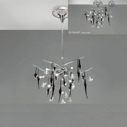 Diyas UK Cygnet IL-IL50410 Chrome Black Glass and Crystal Ten Light Flush Telescopic Ceiling Light