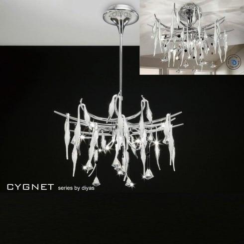 Diyas UK Cygnet IL-IL50413 Chrome White Glass and Crystal Twenty Four Light Flush Telescopic Pendant