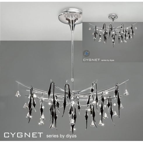 Diyas UK Cygnet IL-IL50416 Chrome Black Glass and Crystal Twenty Four Light Flush Telescopic Oval Pendant