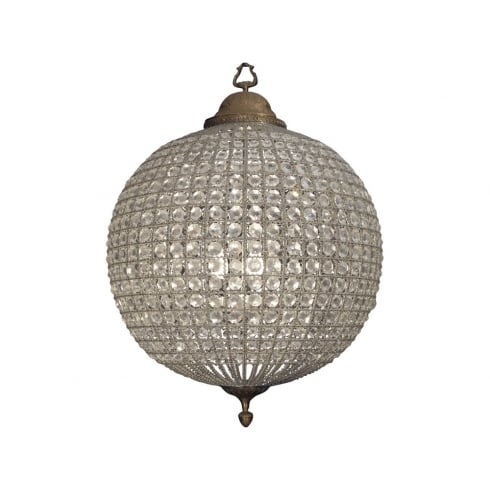 Libra Company Round 036012 Large Crystal Chandelier with Brass Banded Leaf Decoration