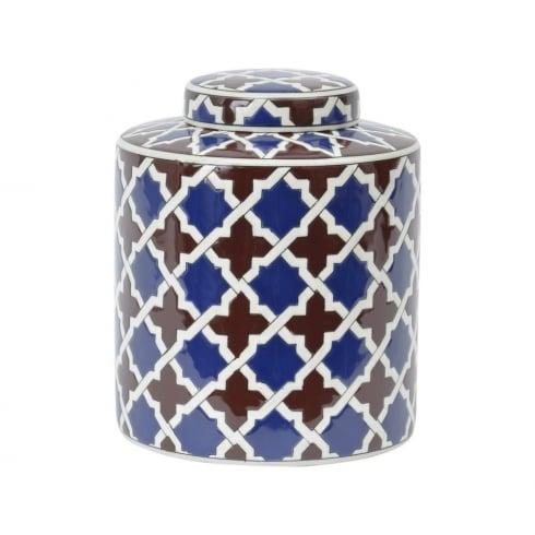 Libra Company Tile Print 337947 Homeware Lidded Ceramic Jar Small