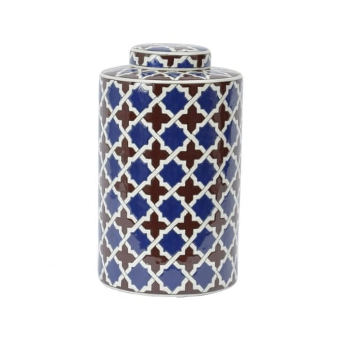 Libra Company Tile Print 337948 Homeware Lidded Ceramic Jar Large