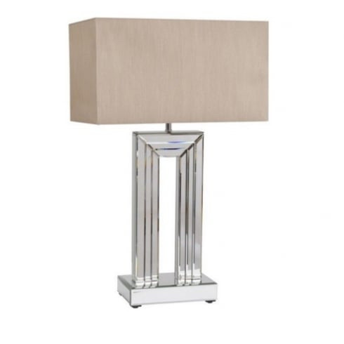 Libra Company Aston 700060 Mirrored Glass Strips Table Lamp with Cream Box Lamp Shade