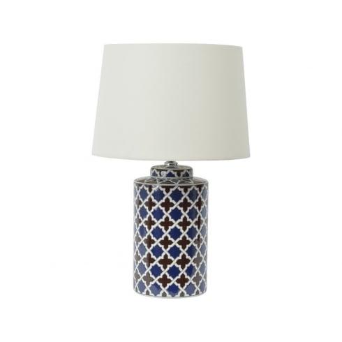Libra Company Tile Print 337949 Quatrefoil Ceramic Design Table Lamp With Lamp Shade