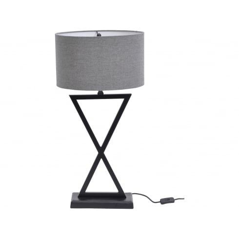 Libra Company Wardour 700075 Matt Black Cross Pattern Table Lamp With Grey Lamp Shade