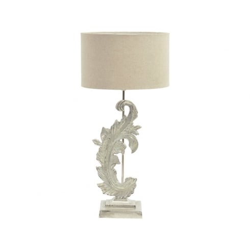 Libra Company Damask 337767 Small Washed Nickel Table Lamp With Beige Fabric Lamp Shade
