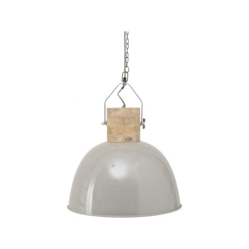 Libra Company Merle 037791 Large Grey Metal and Wood Pendant Ceiling Light