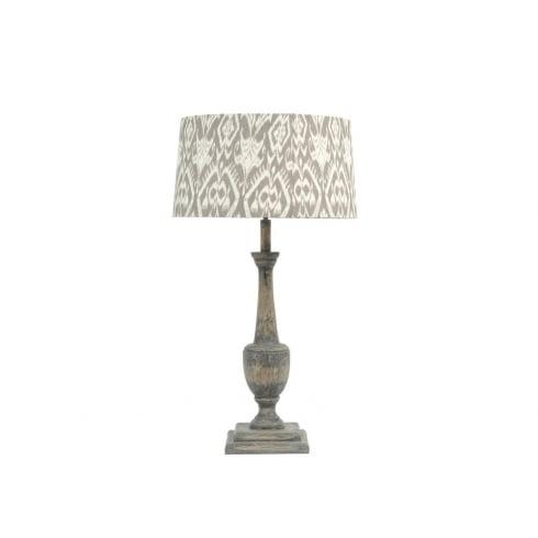 Libra Company Roxborough 337647 Table Lamp Split Mindi Wooden Lamp Base and Ikat Lamp Shade