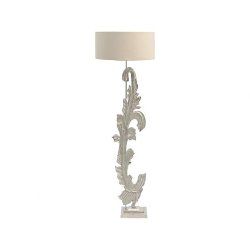 Libra Company Damask 337769 Washed Nickel Floor Lamp With Beige Fabric Lamp Shade