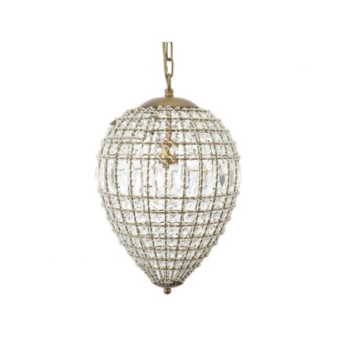 Libra Company Eriska Pear Drop 337924 Small Crystal Effect Brass Chandelier Ceiling Light