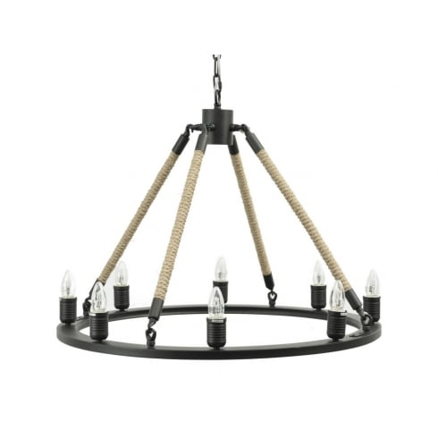 Libra Company Lewes Rope 337737 Industrial Chandelier Ceiling Light