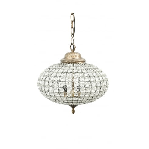 Libra Company Oval 337778 Crystal Effect Brass Medium Chandelier Medium with Banded Leaf Decor