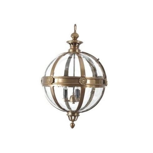Libra Company Whitehouse 036033 Small Round Glass Chandelier with Antique Brass Banding