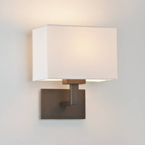 Astro Lighting Connaught 0500 Bronze Surface Wall Light with White Lamp Shade