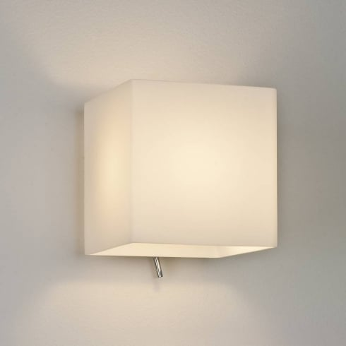 Astro Lighting Luga Square 0930 Switched Surface Wall Light in Chrome with Opal Glass