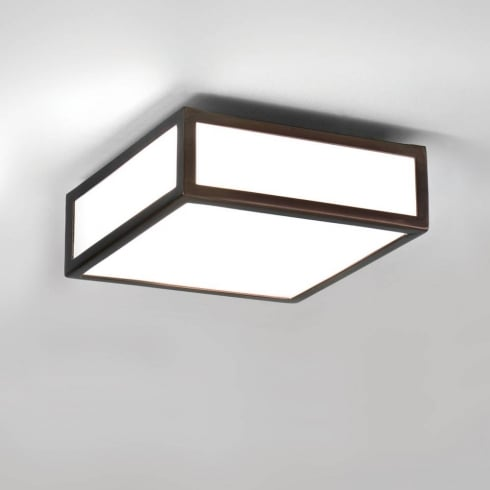 Astro Lighting Mashiko 200 0993 Square Flush Bathroom Ceiling Light Bronze Opal IP44
