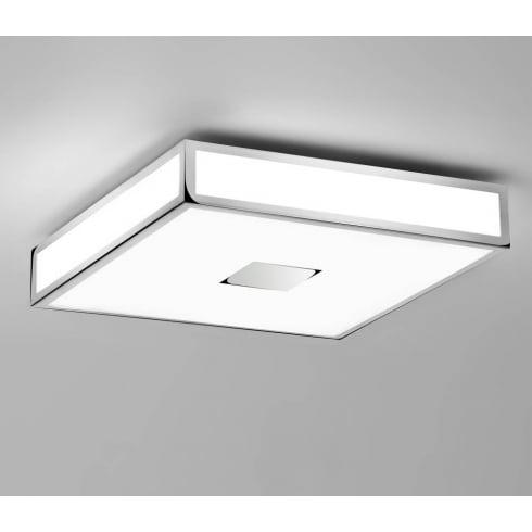 Astro Lighting Mashiko 400 0891 Square Flush Bathroom Ceiling Light Chrome Opal Glass IP44
