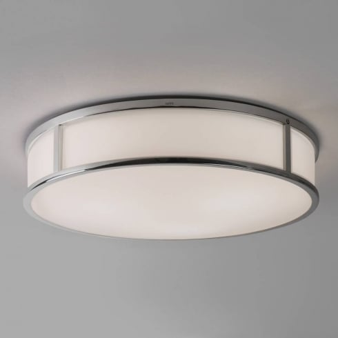 Astro Lighting Mashiko 400 7421 Round Flush Bathroom Ceiling Light Chrome Opal Glass IP44