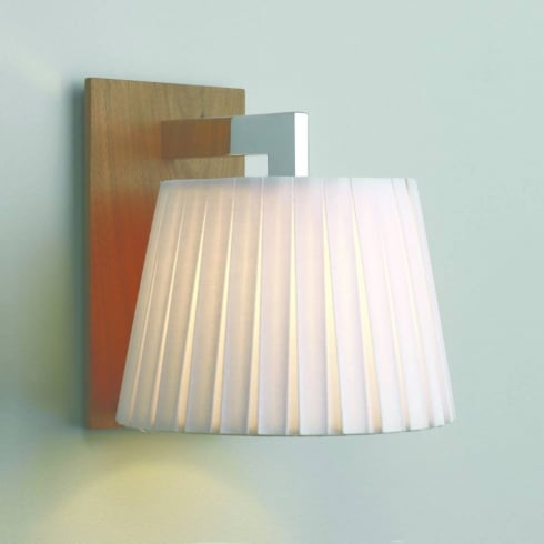 Astro Lighting Nola 0553 Surface Wall Light in Walnut with White Fabric Shade