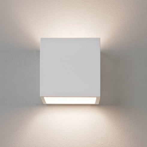 Astro Lighting Pienza 0917 White Plaster Square Surface Wall Light Paintable