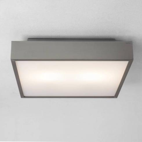 Astro Lighting Taketa 0820 Matt Nickel Opal Square Bathroom Flush Ceiling Light 60Watt