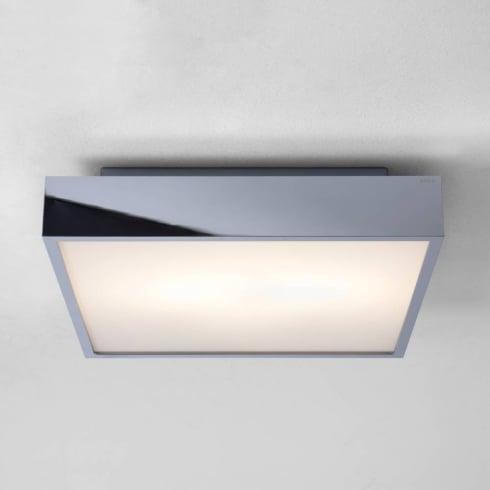 Astro Lighting Taketa 0821 Chrome Opal Square Bathroom Flush Ceiling Light 60Watt